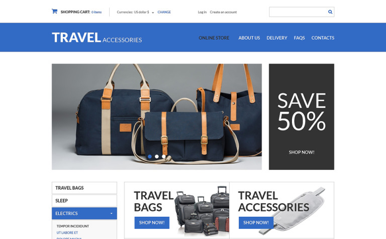 Travel Products VirtueMart Template #49577