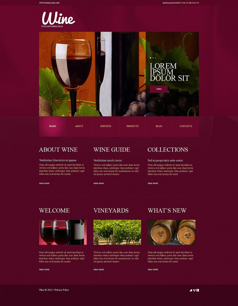 Wine WordPress Theme New Screenshots BIG