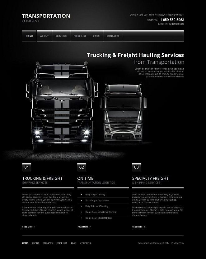 Transportation Website Template with Black Design - image