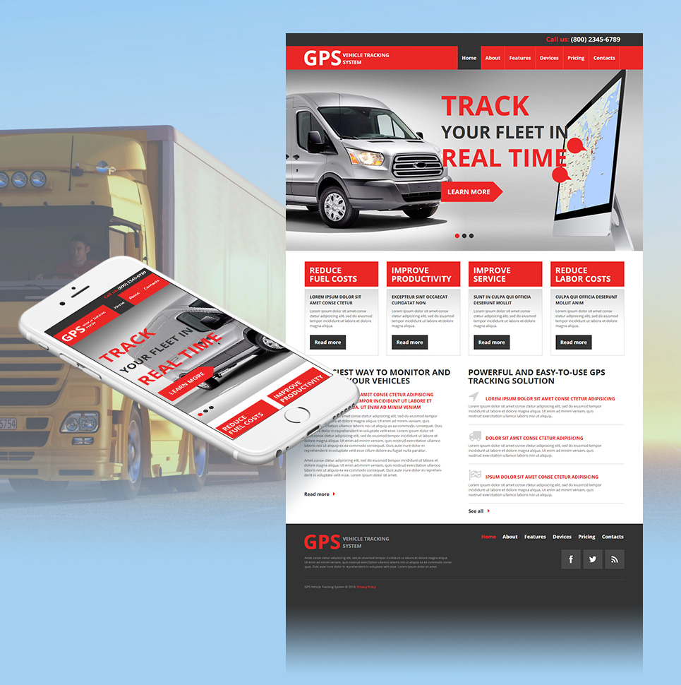 Vehicle Tracking Website Template - image