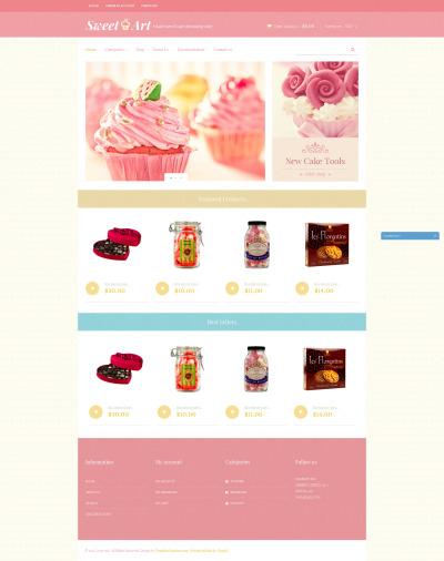 Адаптивный Shopify шаблон №49652 на тему магазин сладостей