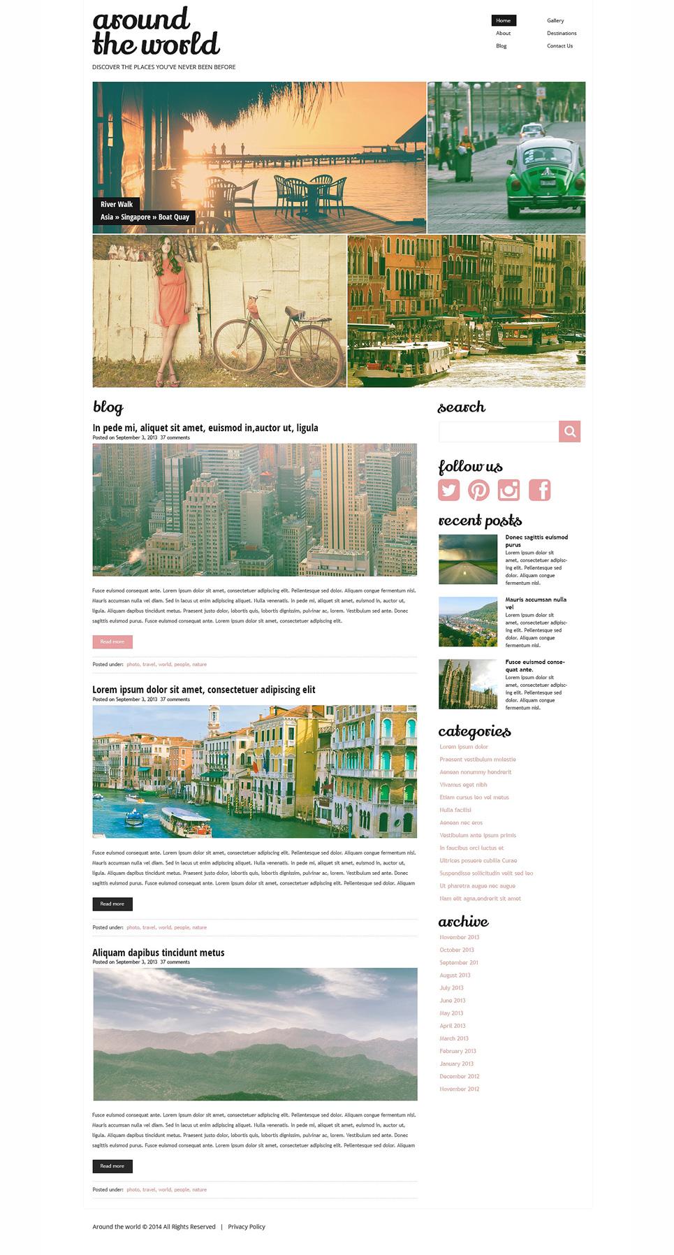 Адаптивный шаблон сайта на тему путешествия #49621
