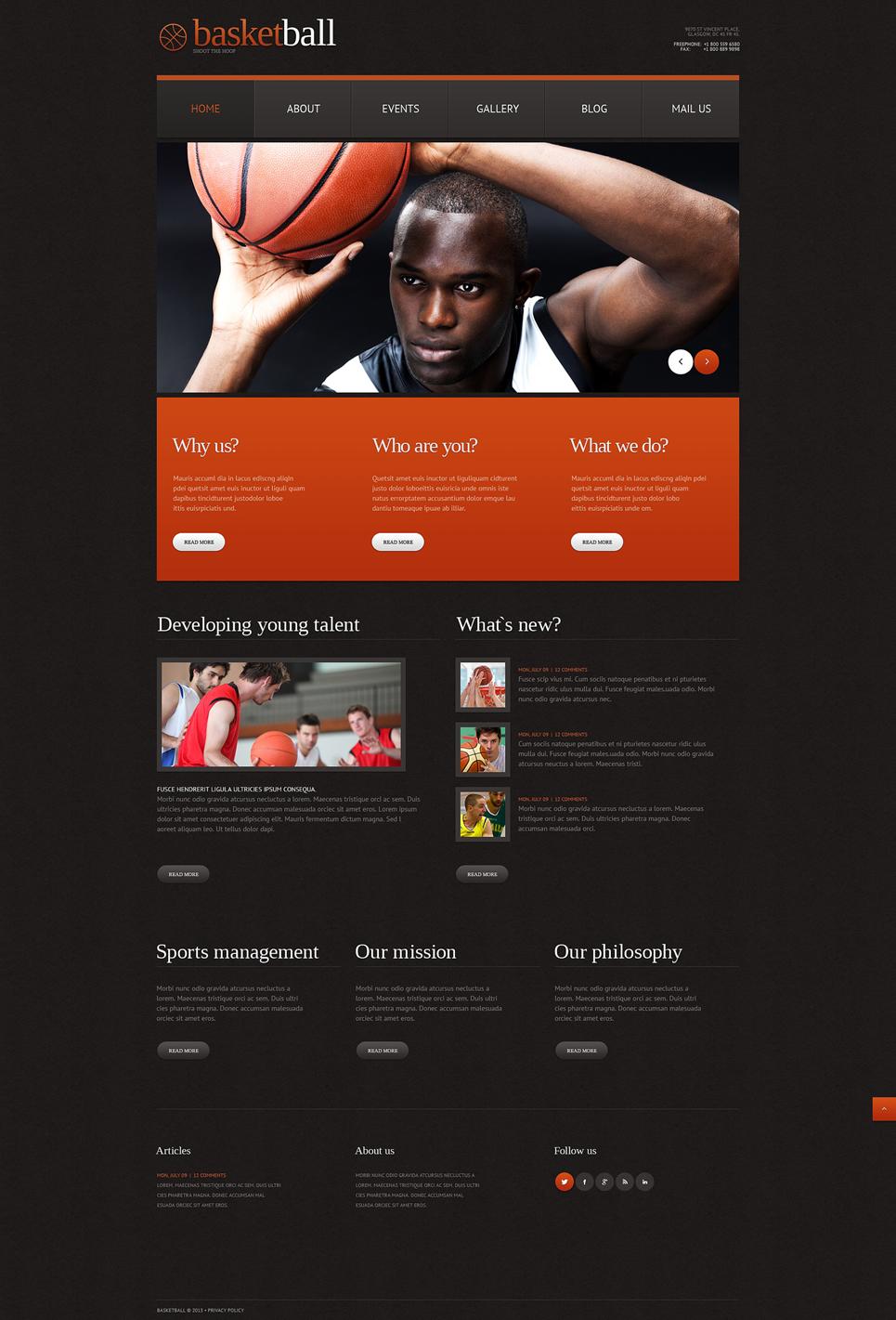 Адаптивный шаблон сайта на тему баскетбол #49641
