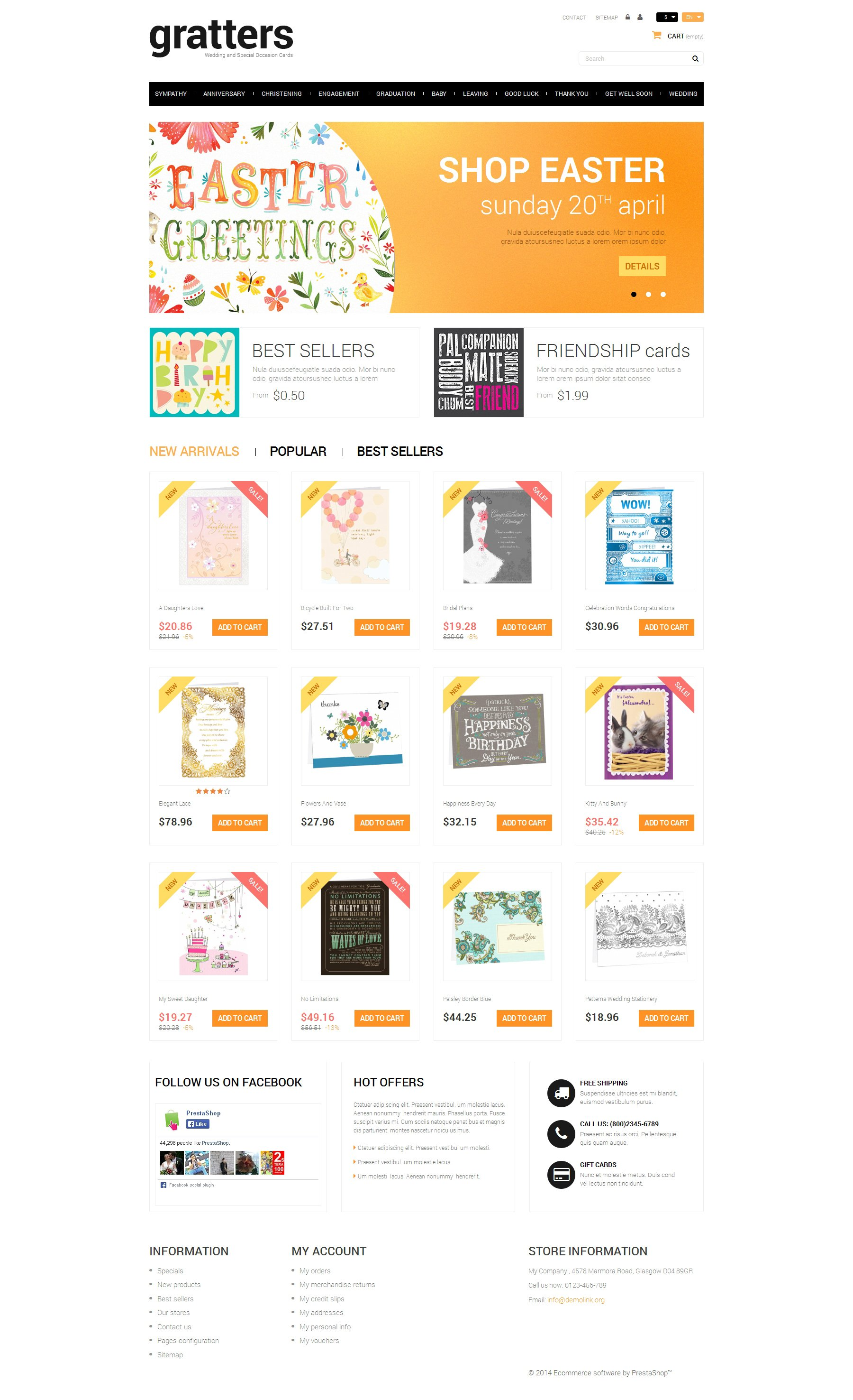 """""""All Occasions Cards Store"""" Responsive PrestaShop Thema №49655"""