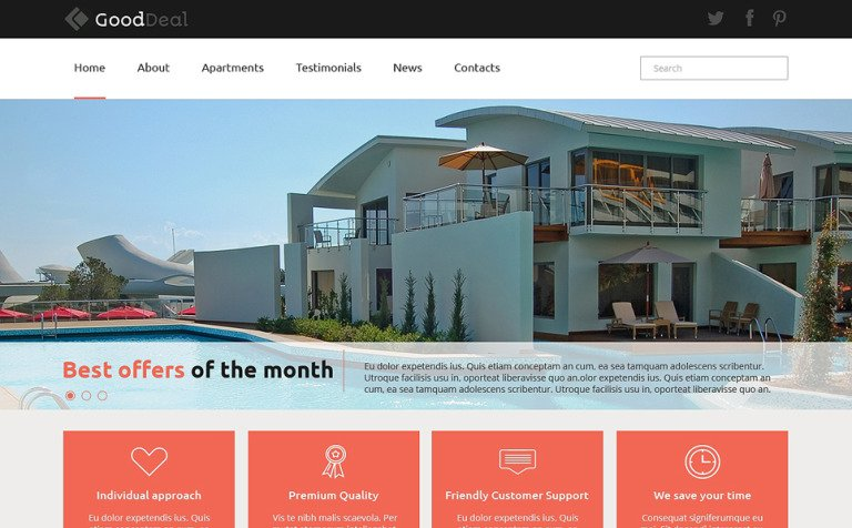 Apartments for Rent Joomla Template #49660