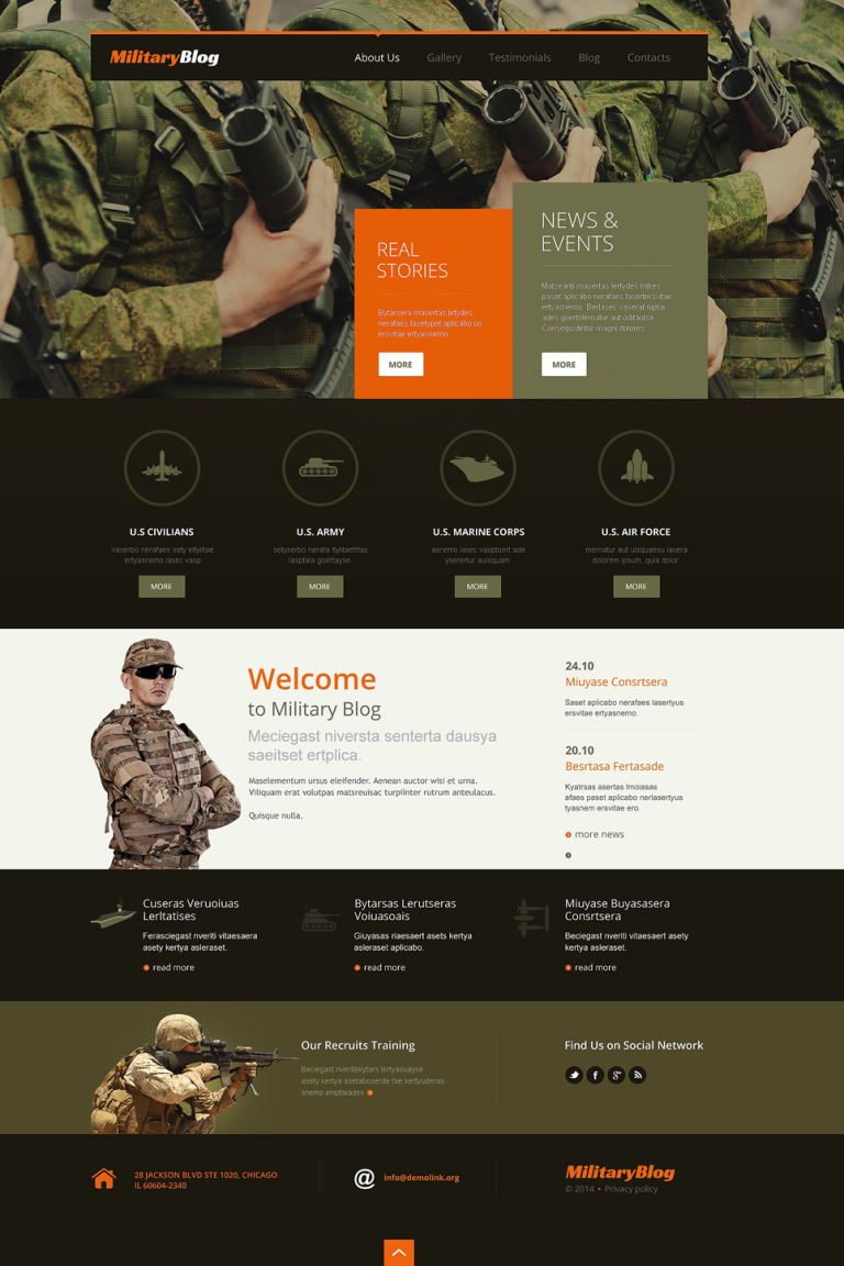 Army Responsive WordPress Theme New Screenshots BIG