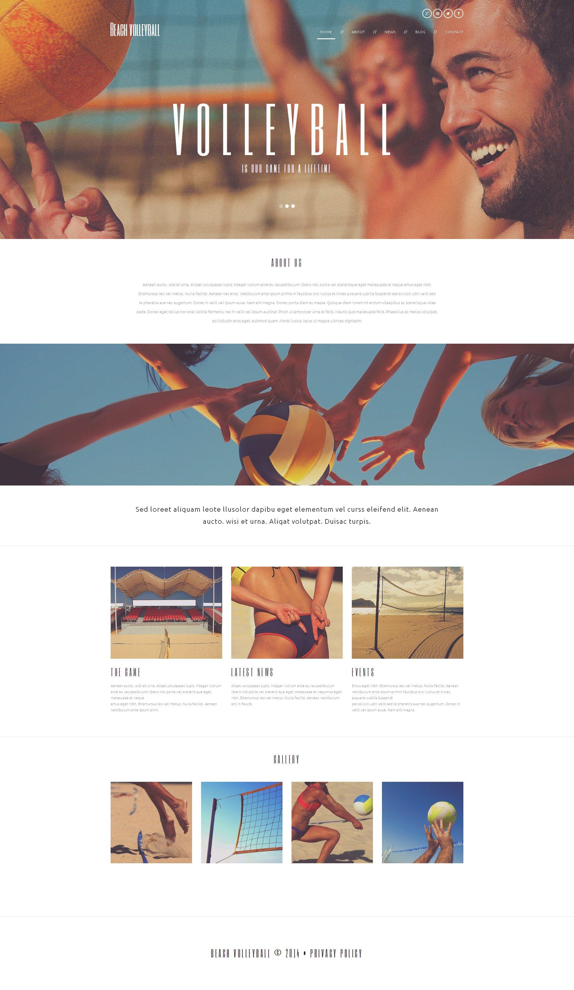 """Beach Volleyball Club"" 响应式WordPress模板 #49672"