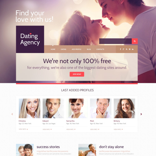 Dating Agency - WordPress Template based on Bootstrap