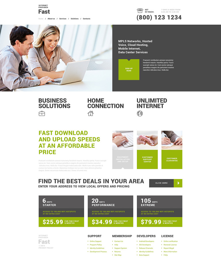Fast Internet Provider WordPress Theme New Screenshots BIG