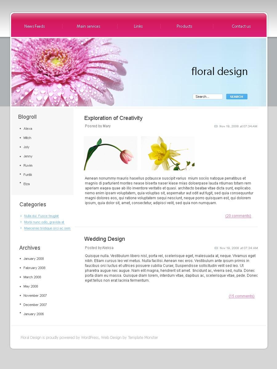 Flowers PSD Template