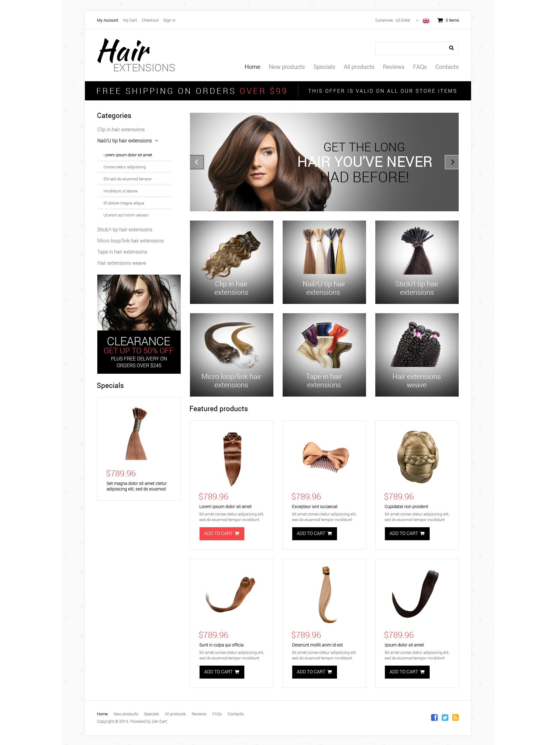 Hair Salon ZenCart Template - screenshot