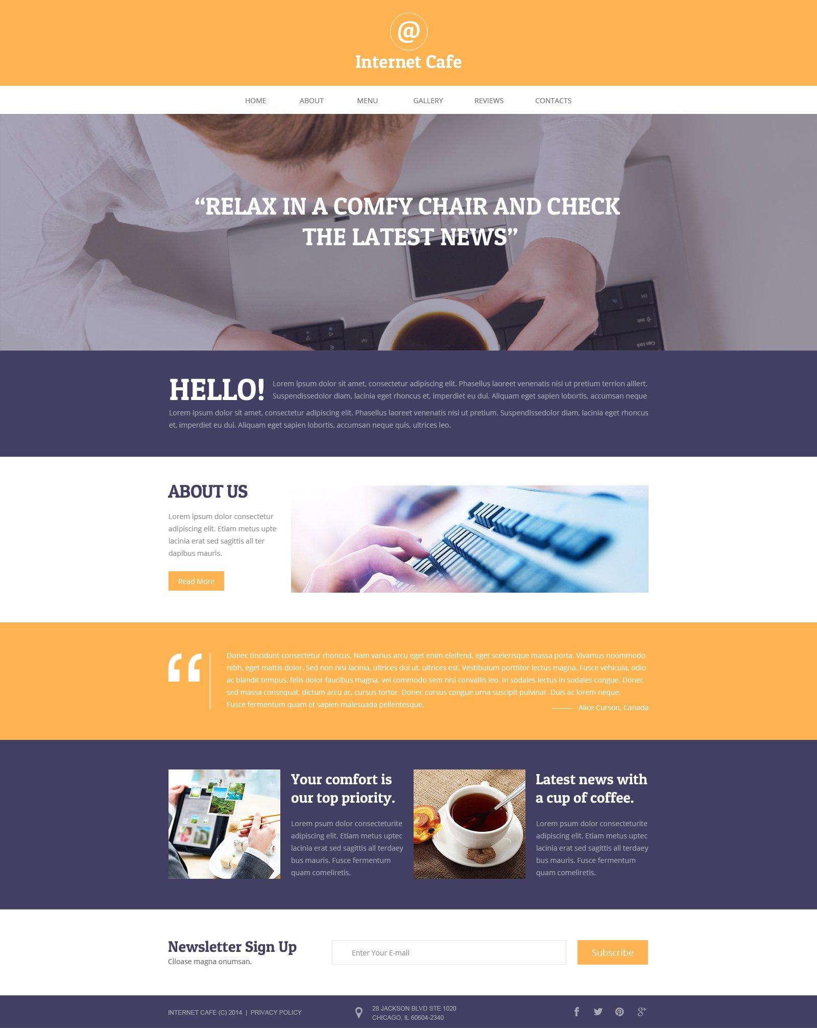 internet cafe responsive website template 49667