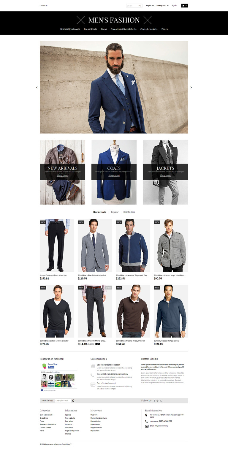 Men's Corporate Fashion Shop PrestaShop Theme New Screenshots BIG
