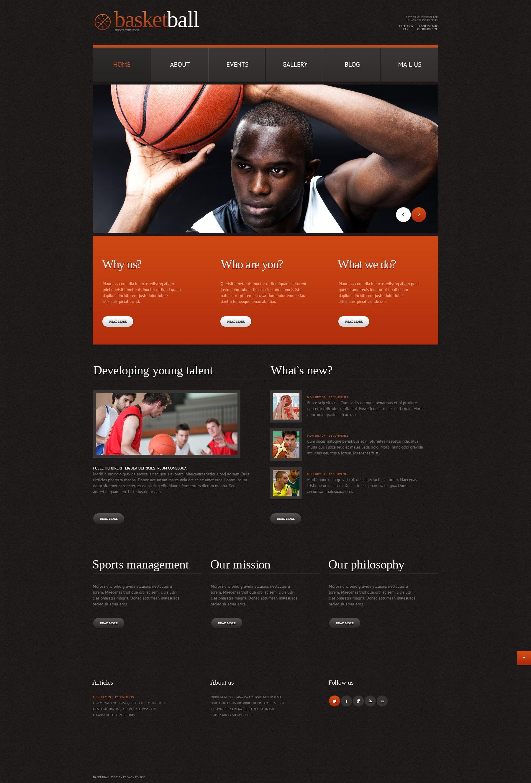 Responsive WordPress thema over Basketball №49641