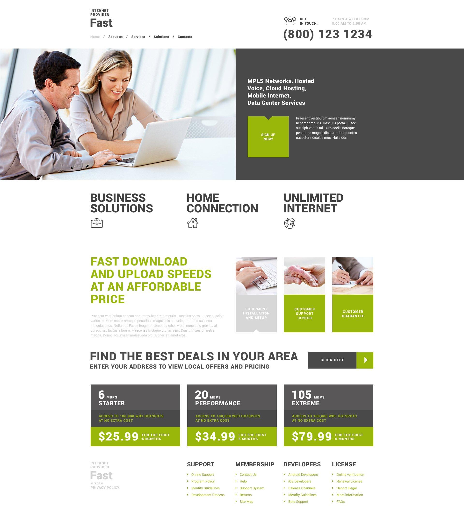 Reszponzív Fast Internet Provider WordPress sablon 49654 - képernyőkép