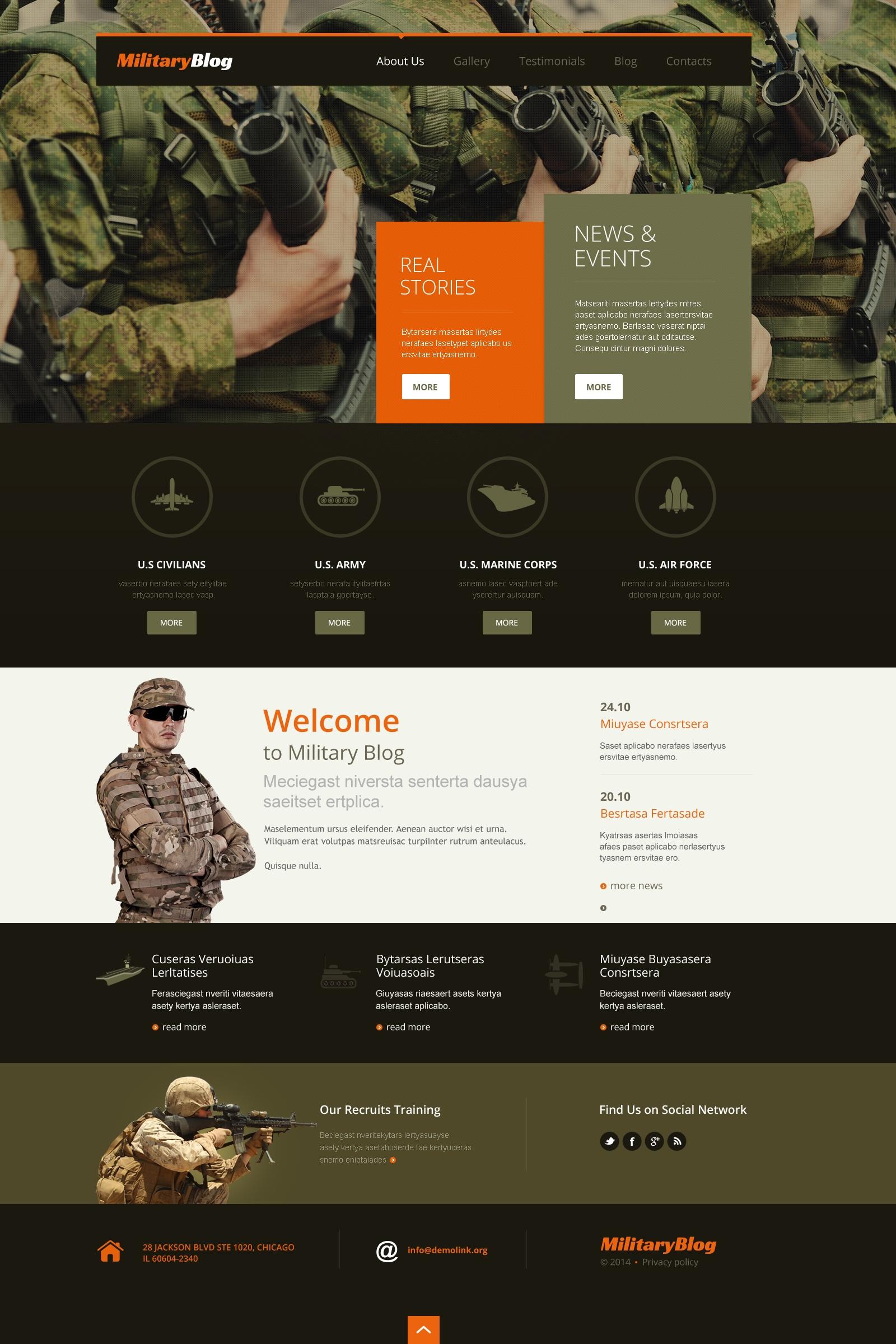 Reszponzív Hadsereg témakörű WordPress sablon 49629