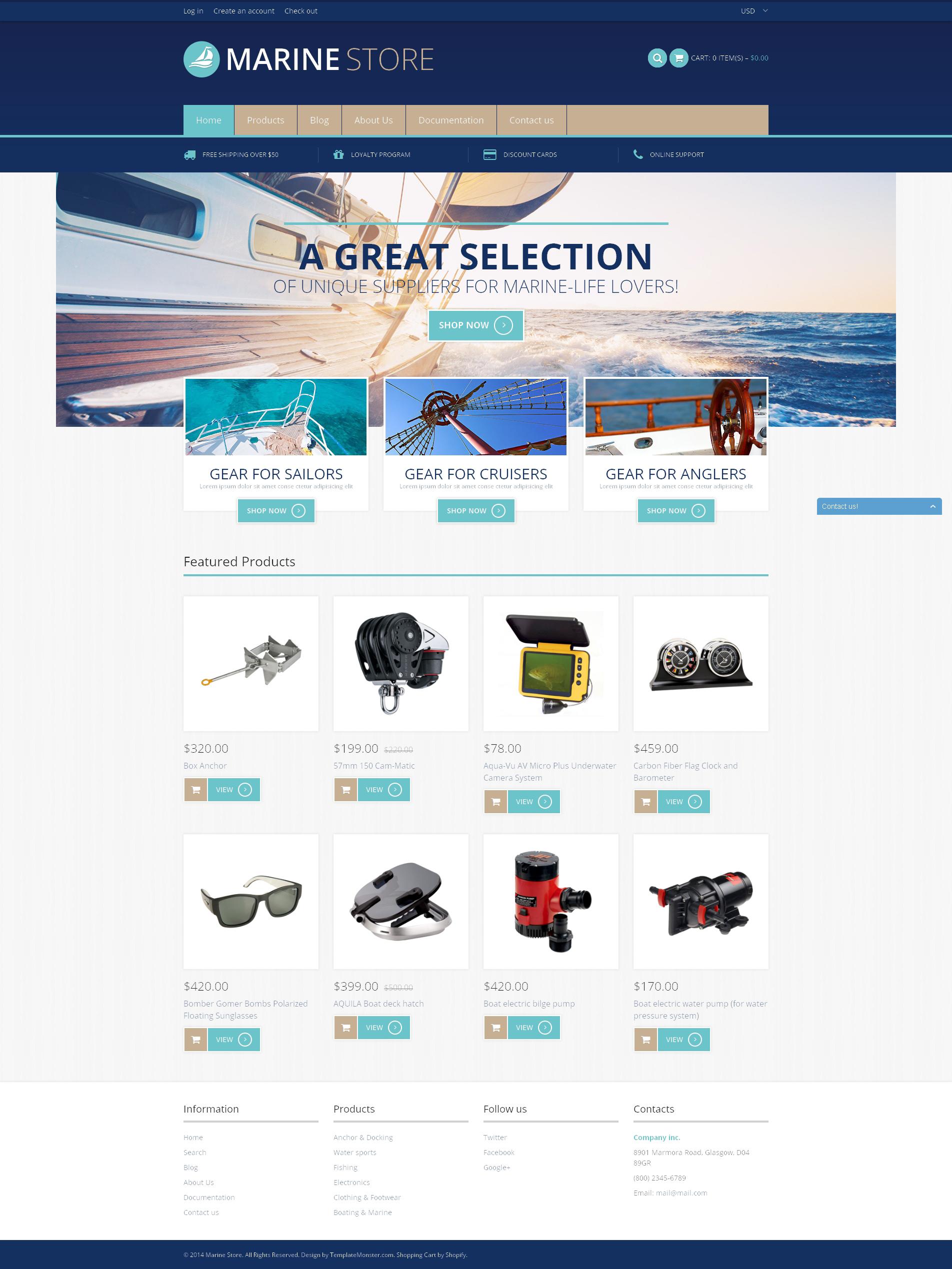 Tema Shopify Responsive para Sitio de Navegación de recreo o deportiva #49650