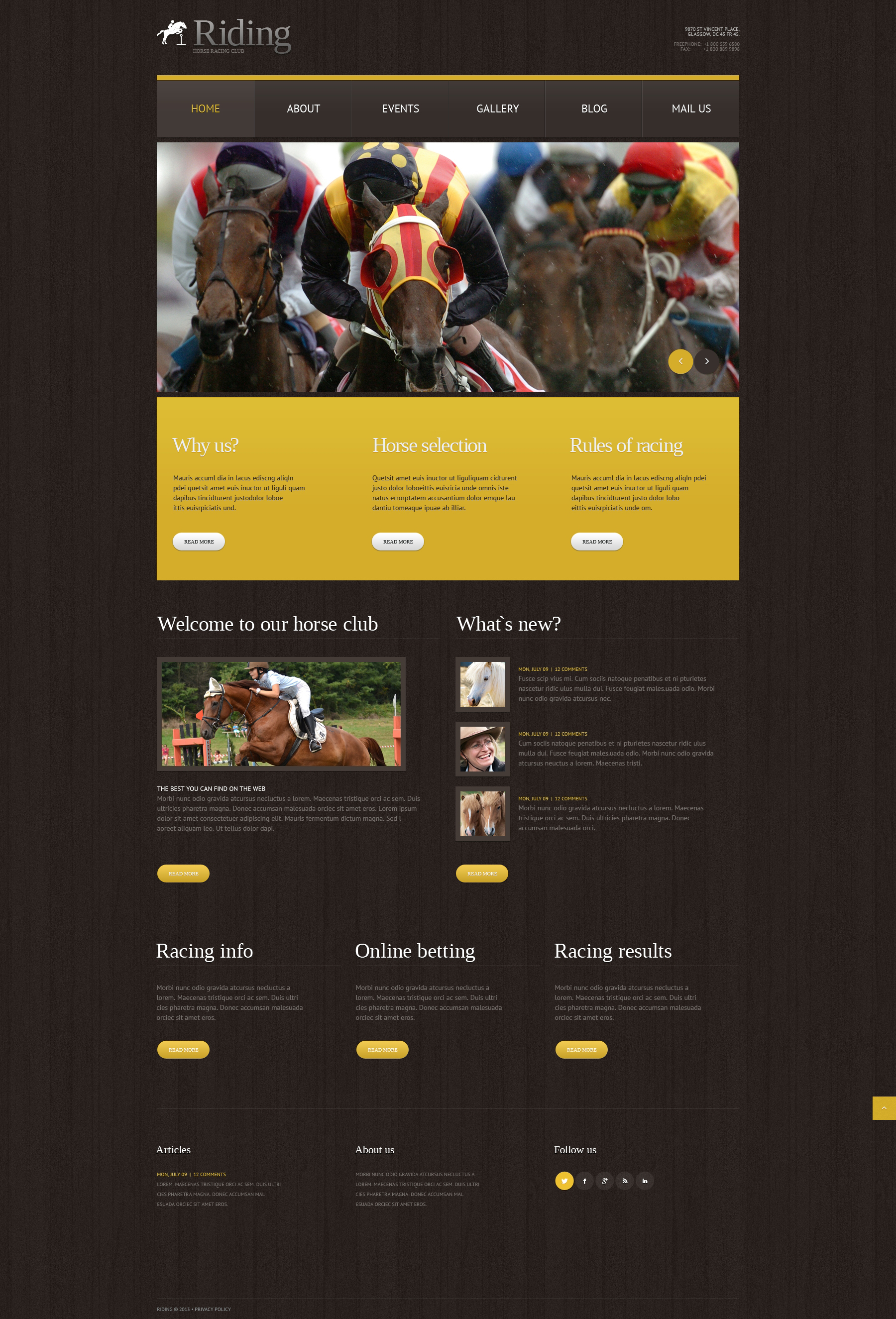 Tema WordPress Flexível para Sites de Corrida de Cavalos №49643