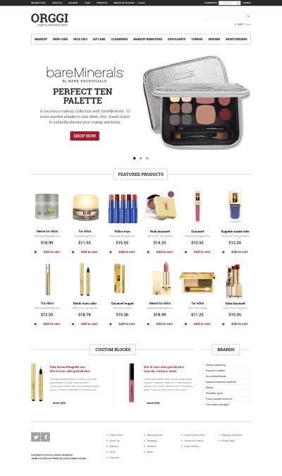 VirtueMart шаблон №49647 на тему магазин косметики