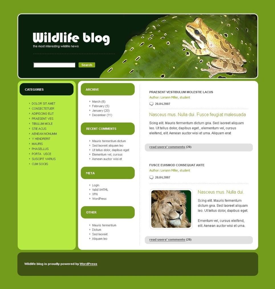 Wild Life PSD Template New Screenshots BIG