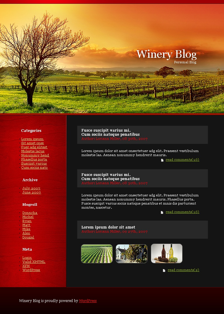 Winery PSD Template