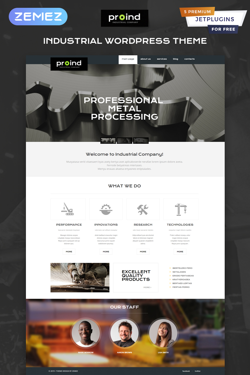 "WordPress Theme namens ""Proind - Industrial Services Multipurpose Modern Elementor"" #49645"