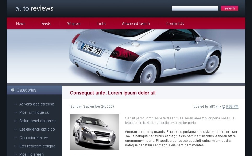 Plantilla PSD #49702 para Sitio de Coches New Screenshots BIG