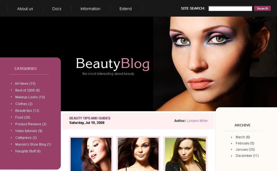 PSD шаблон на тему краса New Screenshots BIG