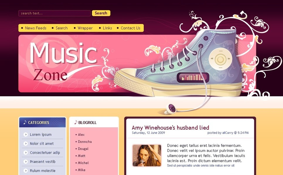 PSD Vorlage für Musik-Blog  New Screenshots BIG