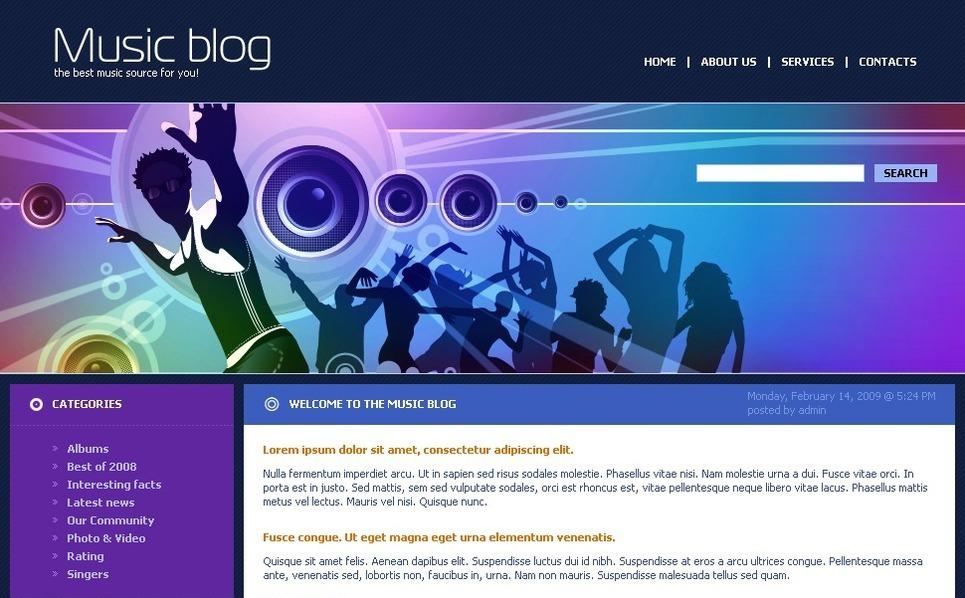 PSD Template over Muziek Blog  New Screenshots BIG