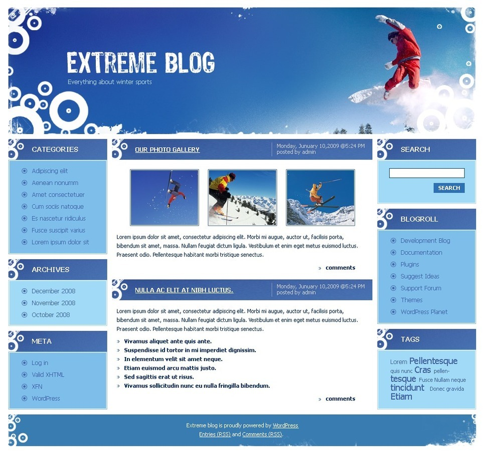 Extreme Sports PSD Template New Screenshots BIG