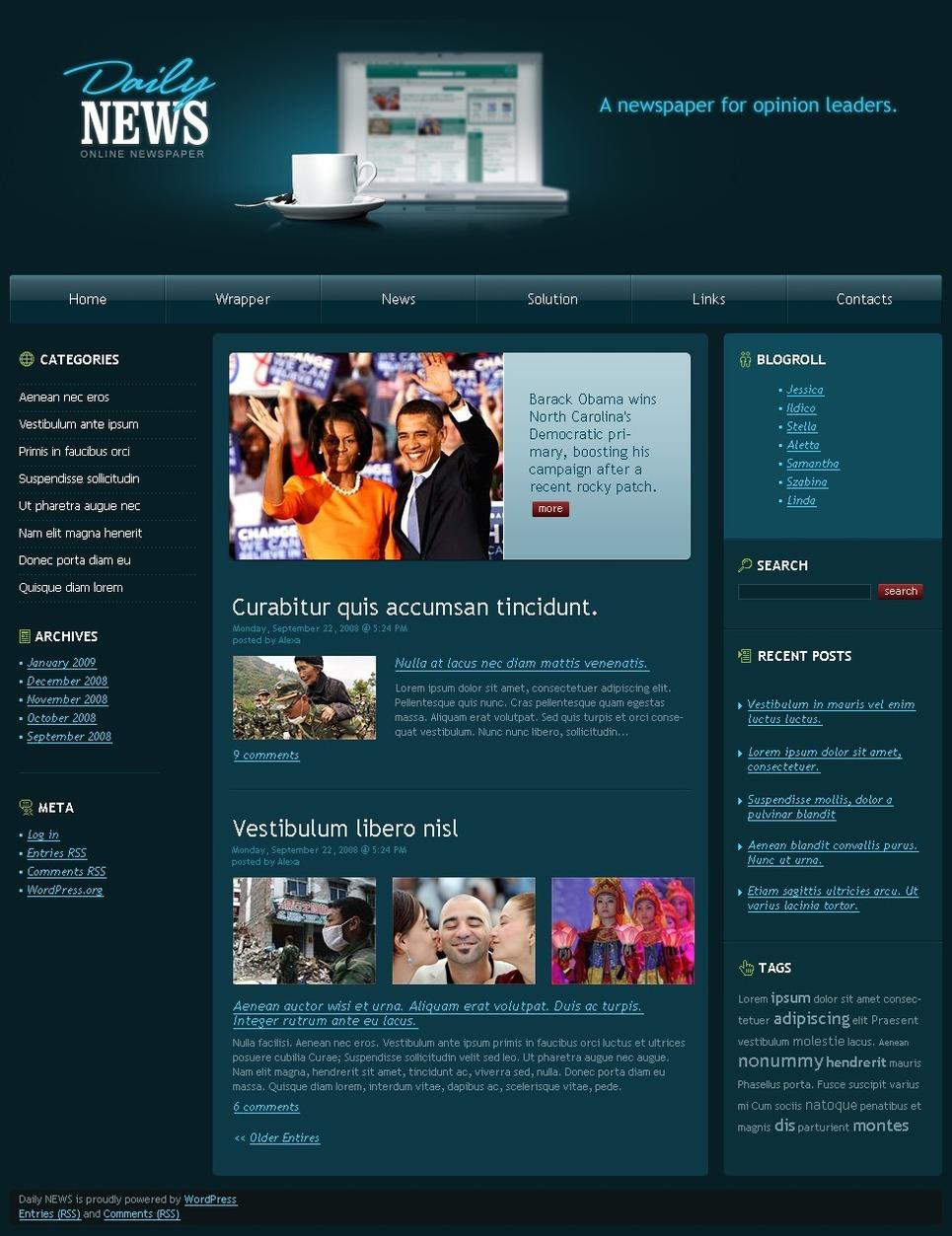 Plantilla PSD #49770 para Sitio de Portal de Noticias