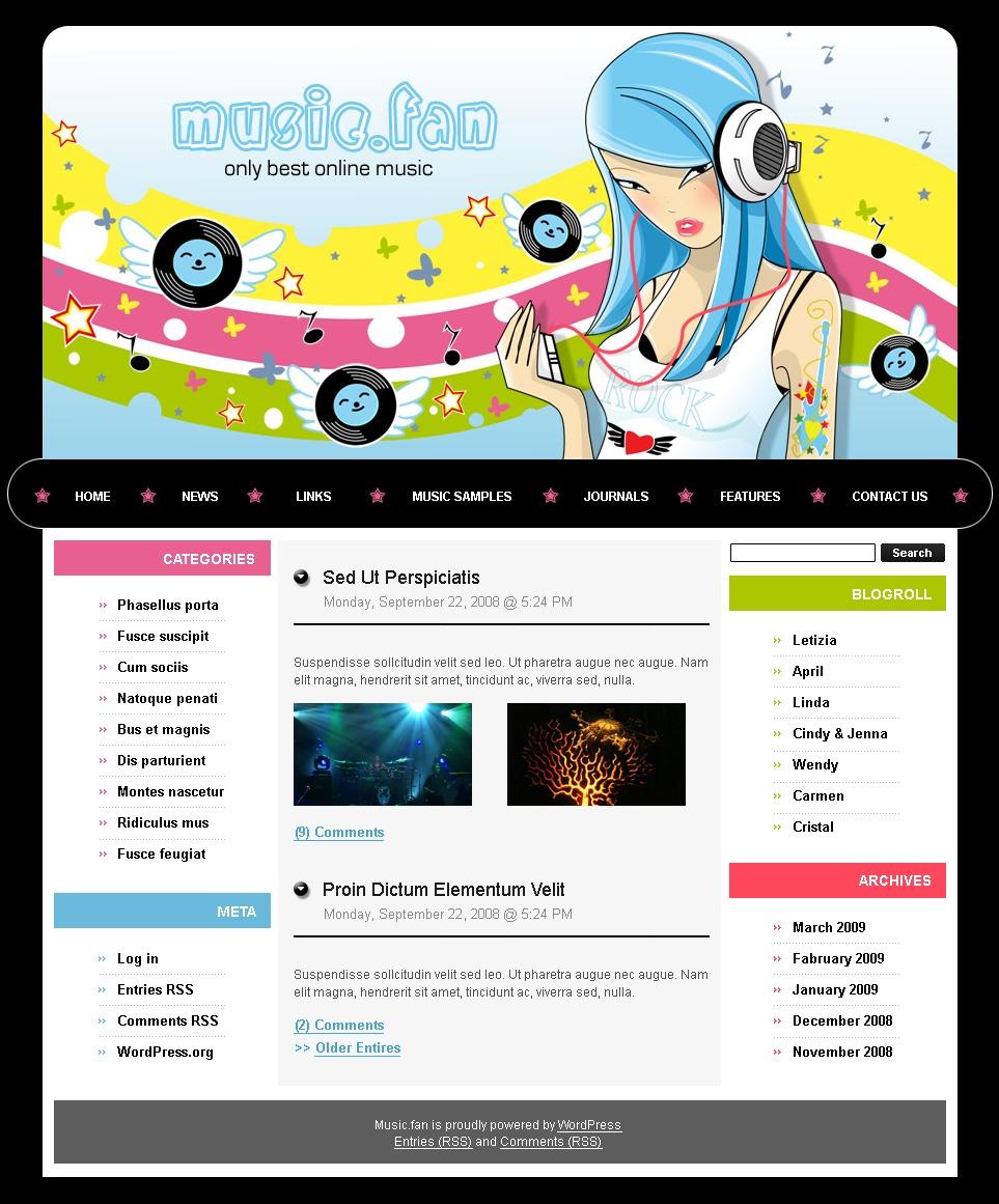 PSD шаблон на тему музичний блог №49792 - скріншот