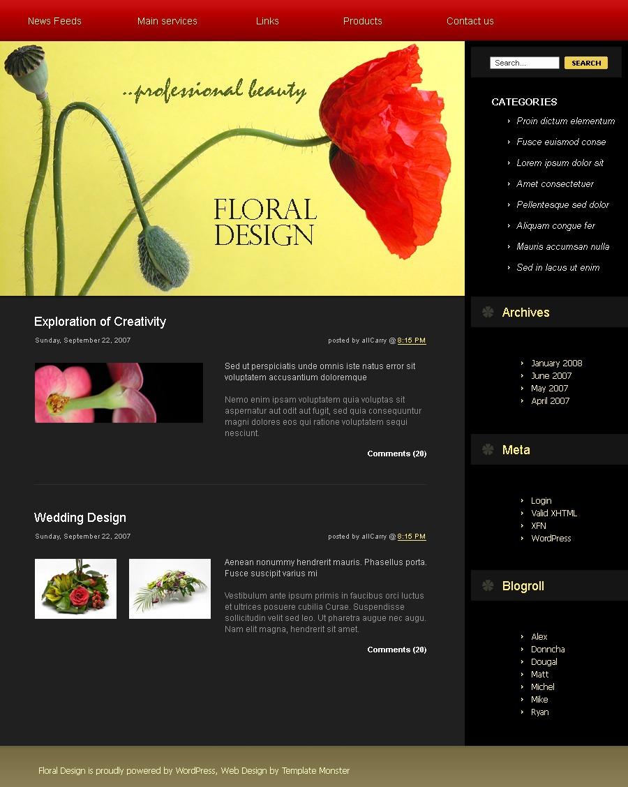 PSD šablona Květiny #49700