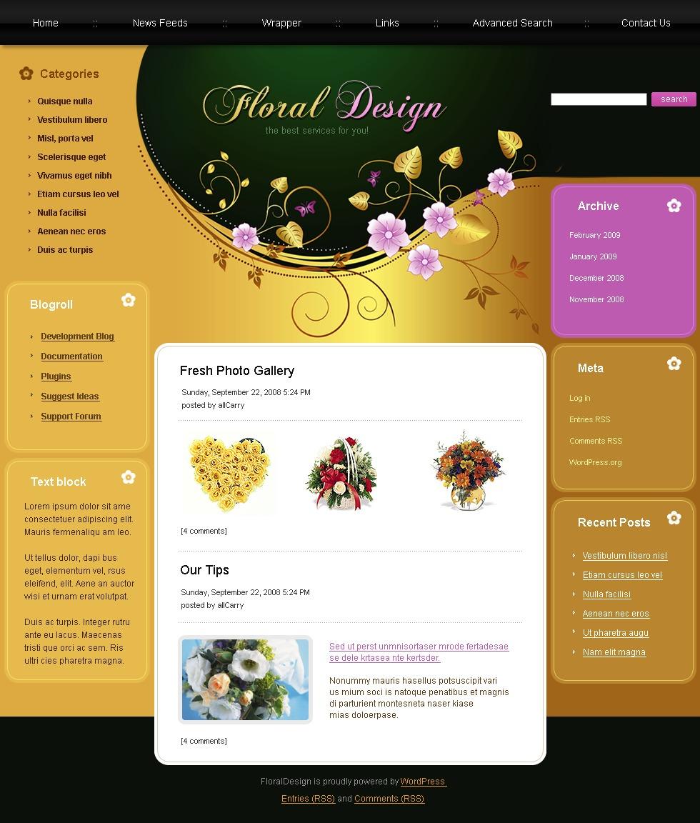 PSD šablona Květiny #49782