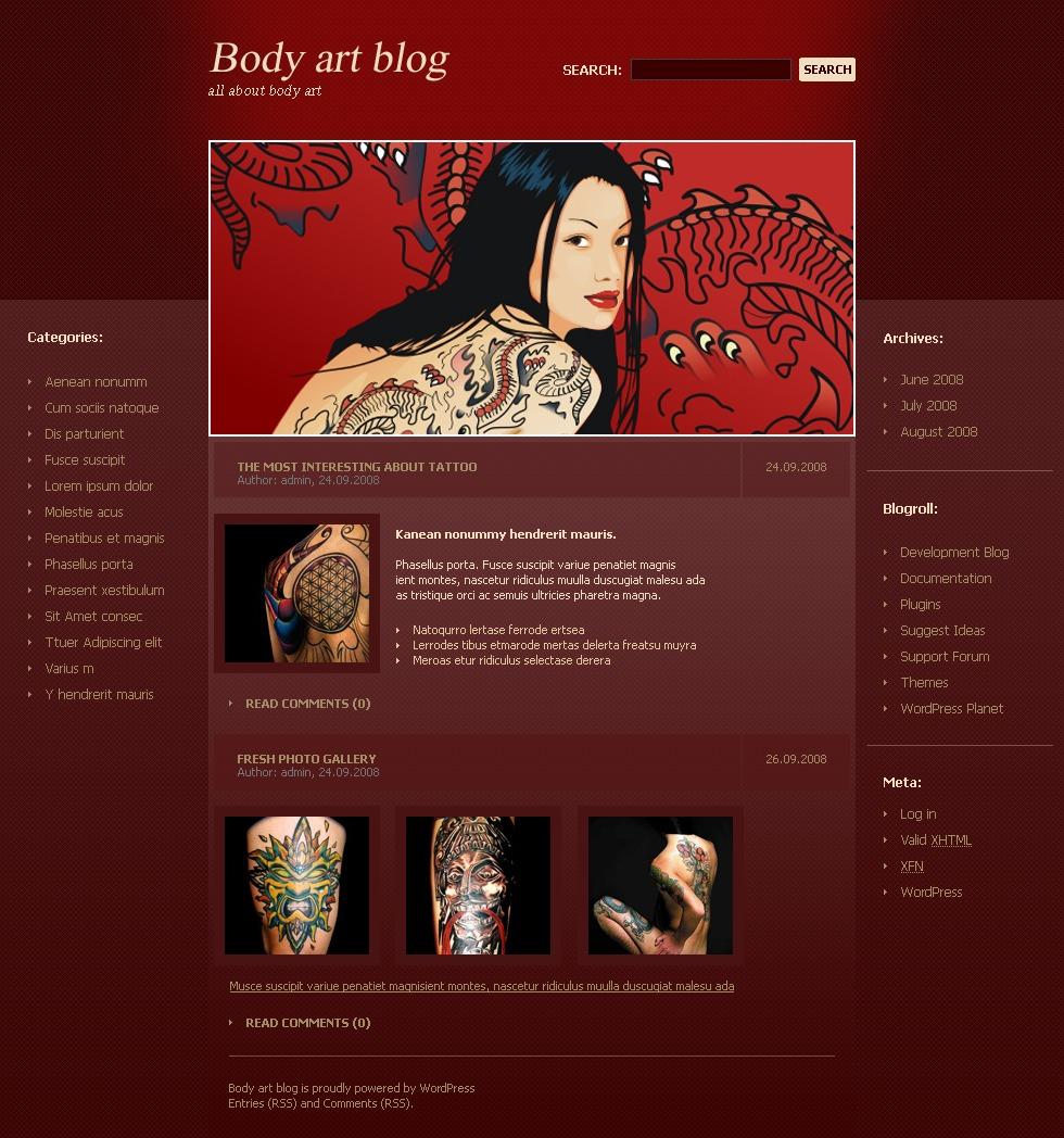 Tattoo Salon PSD Template