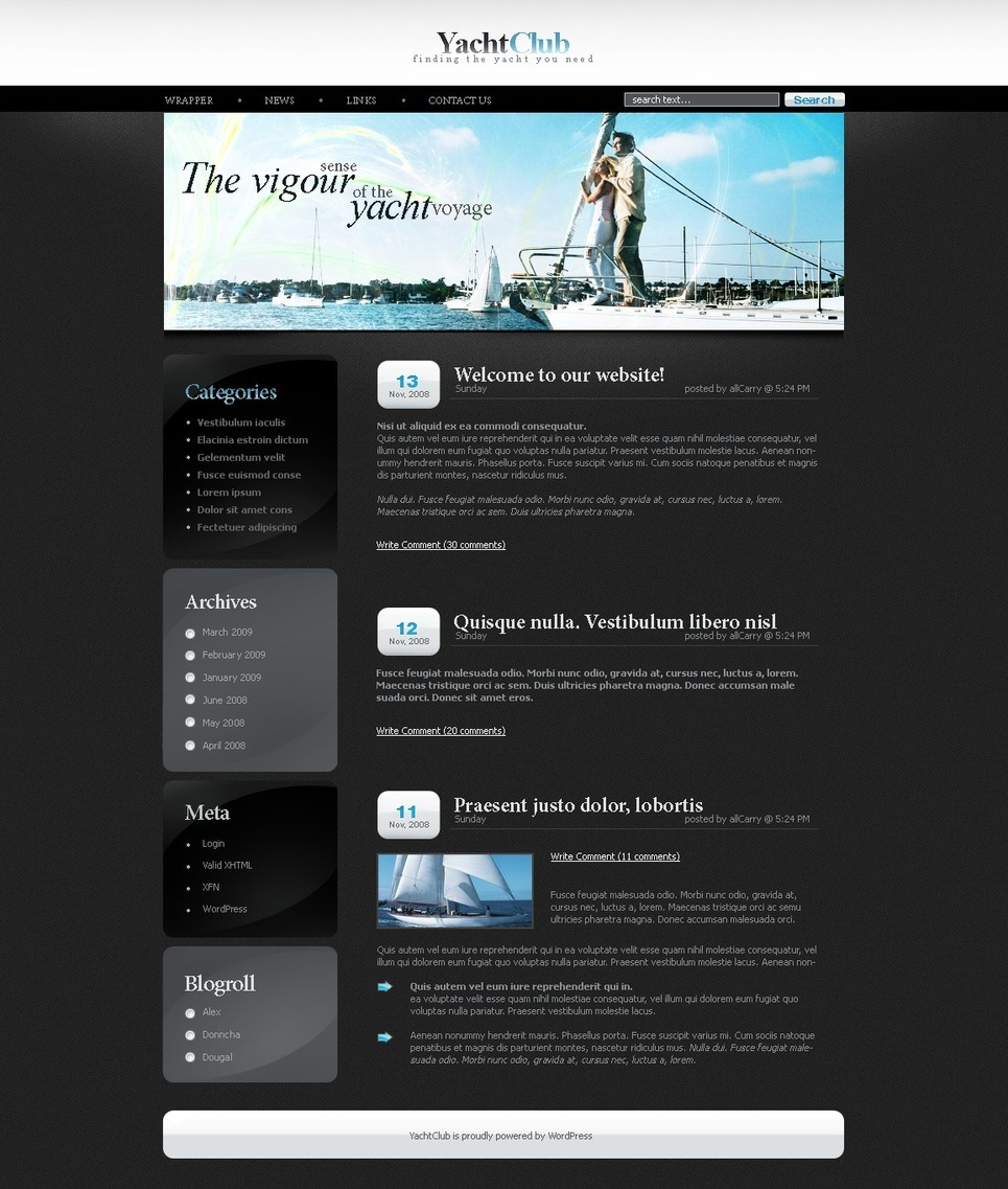 Yachting PSD Template New Screenshots BIG