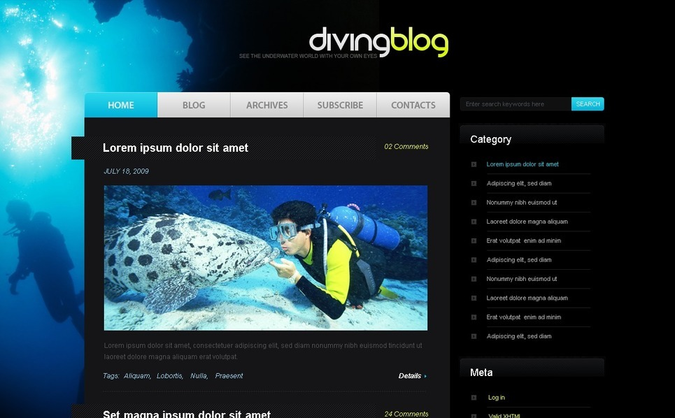 Tema PSD  #49842 per Un Sito di Diving New Screenshots BIG