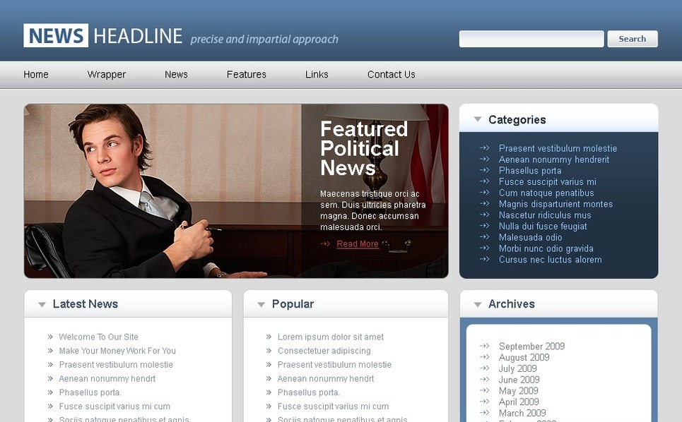 Template Photoshop  para Sites de Portal de Noticias №49891 New Screenshots BIG
