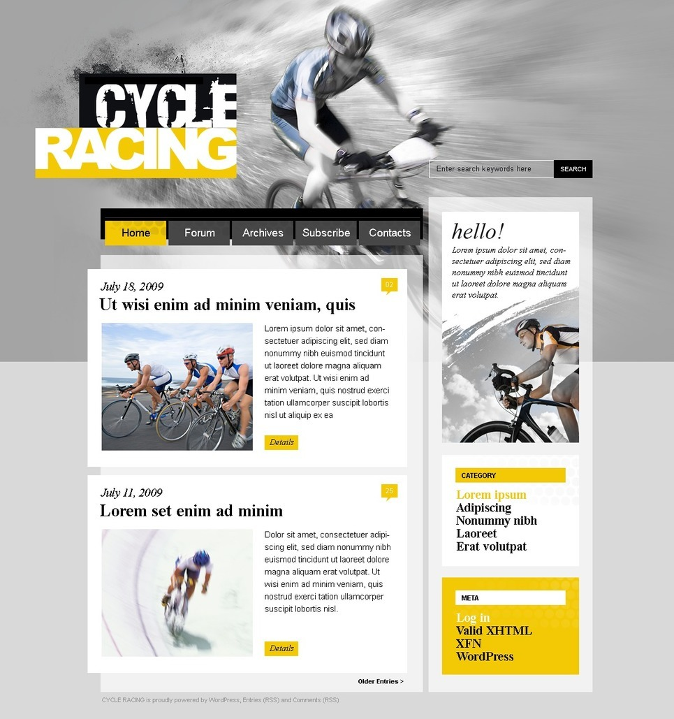 Cycling PSD Template New Screenshots BIG
