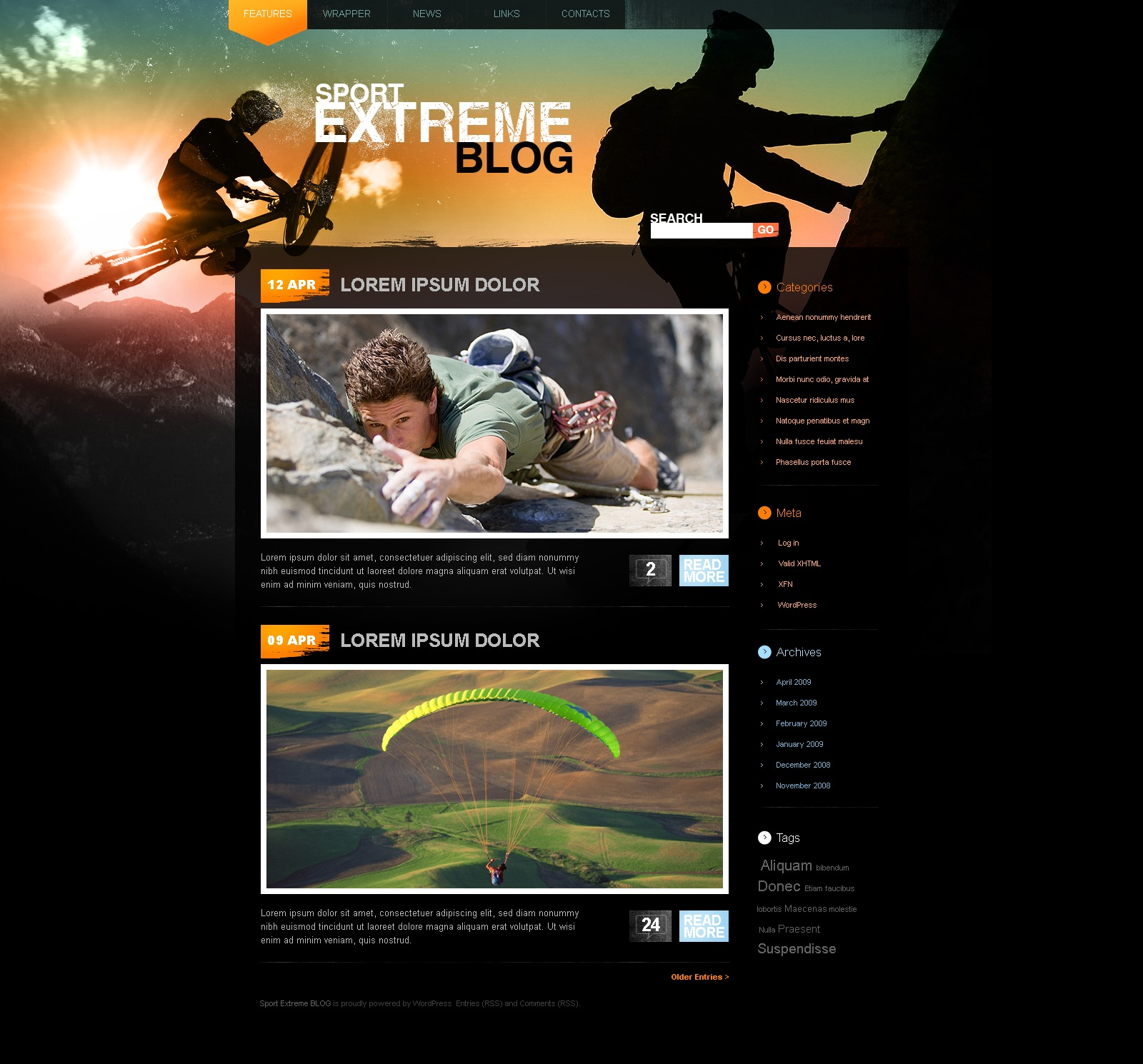 Extreme Sports PSD Template