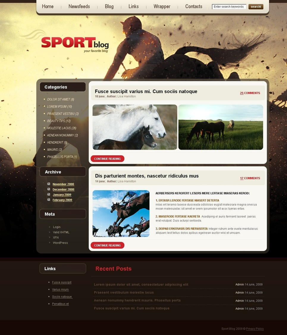 Horse Racing PSD Template New Screenshots BIG
