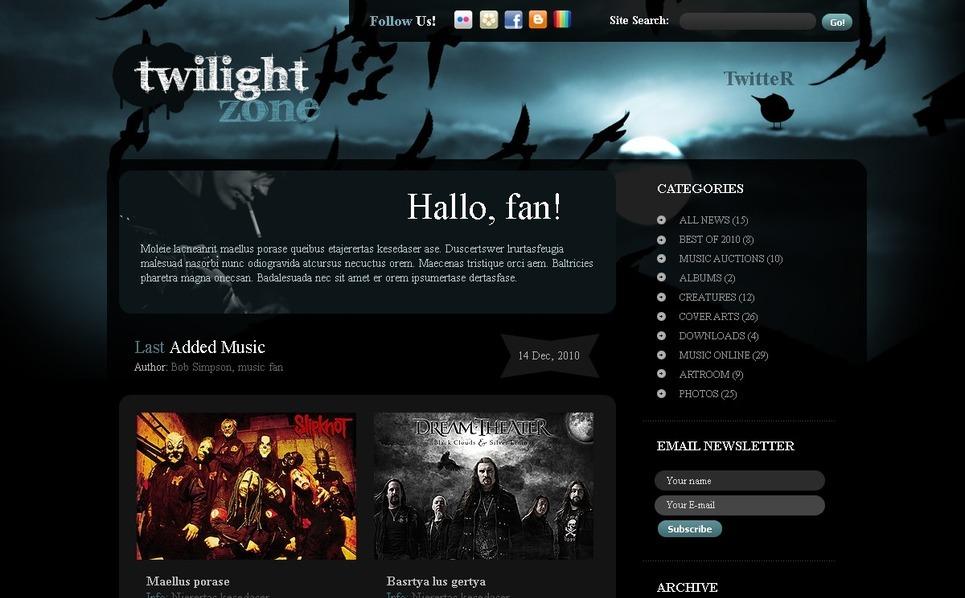 Modèle PSD  pour site de groupe de musique New Screenshots BIG
