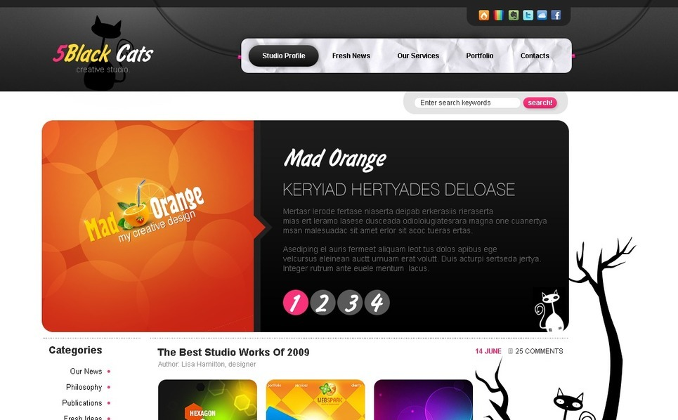 PSD шаблон №49955 на тему Шаблон сайтов студии дизайна New Screenshots BIG