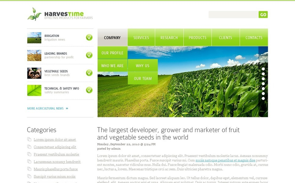 Agriculture PSD Template New Screenshots BIG
