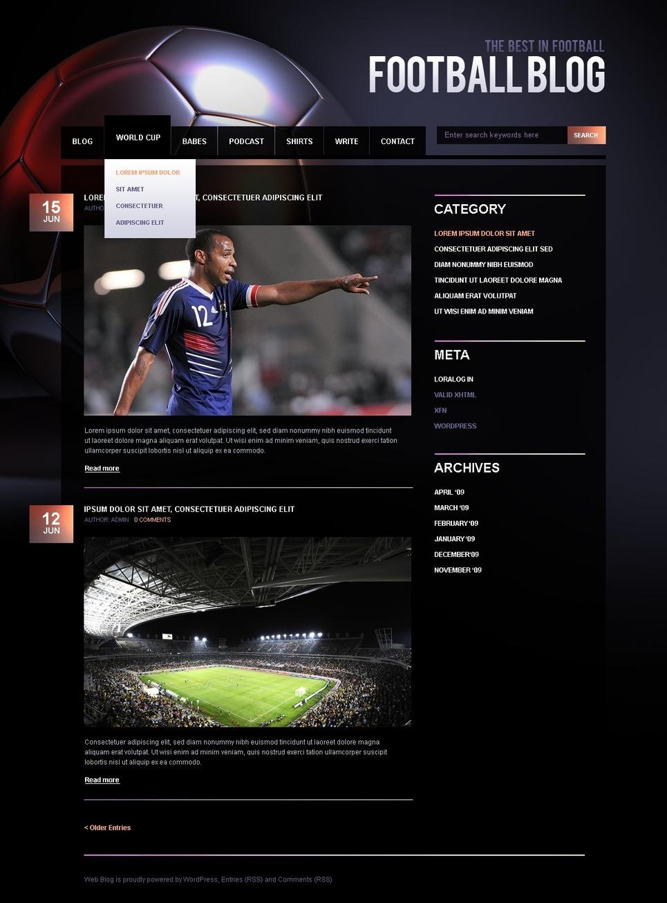 Plantilla PSD #49997 para Sitio de Fútbol