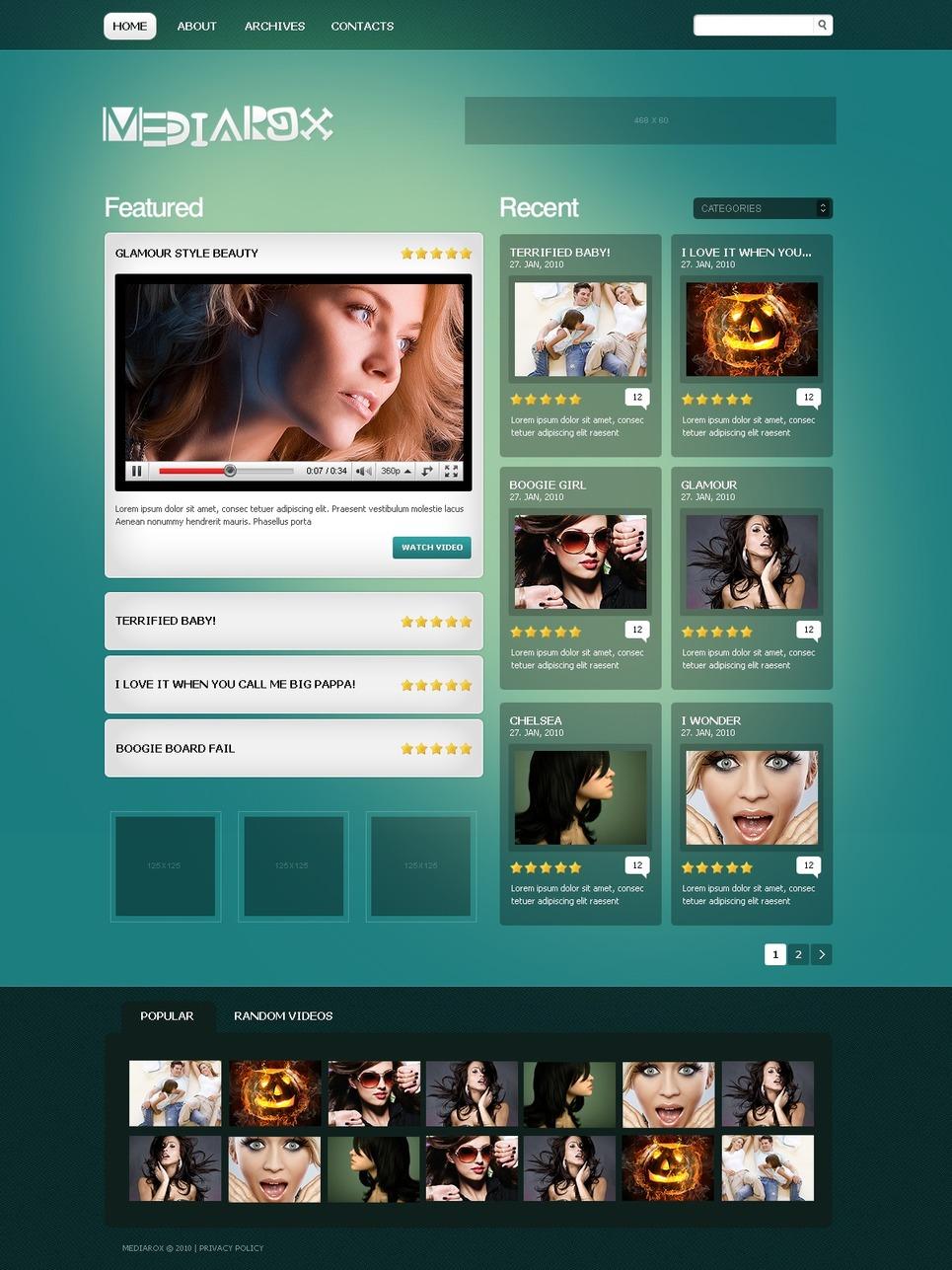 Plantilla PSD #49968 para Sitio de Galerías de vídeos
