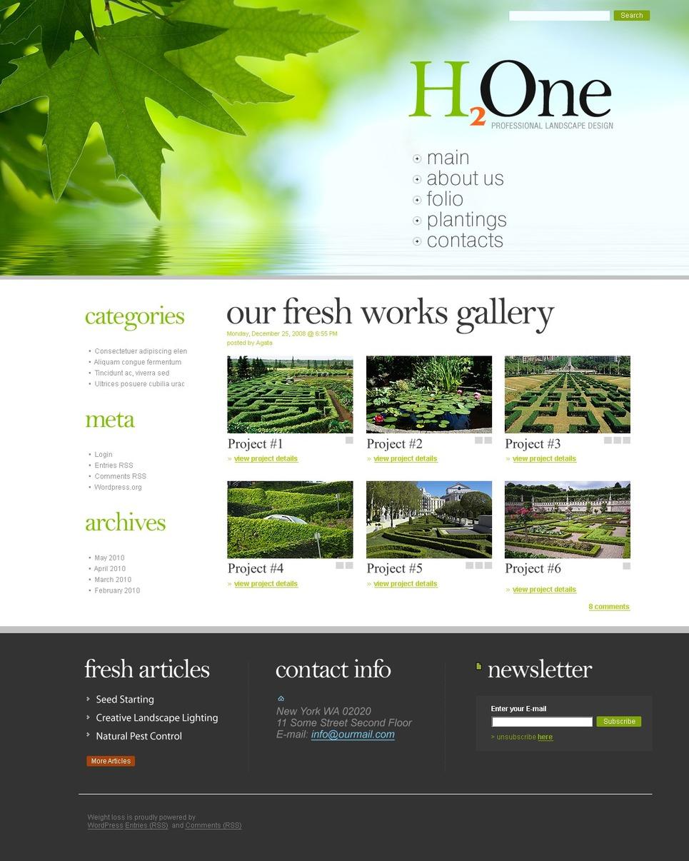 Tema psd 49992 per un sito di architettura del paesaggio for Sito di design