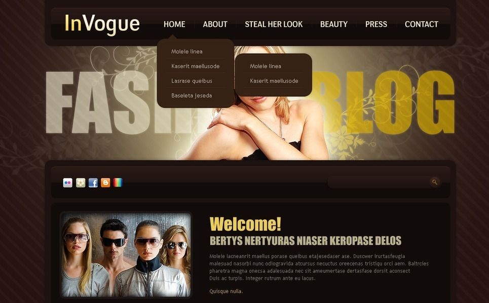 Tema PSD  #50004 per Un Sito di Fashion Blog New Screenshots BIG