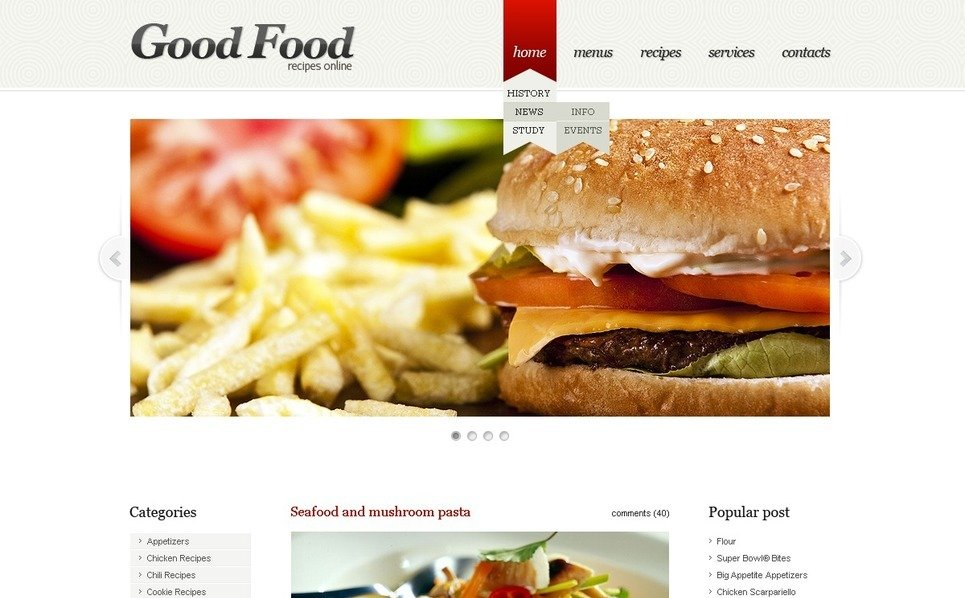 Modèle PSD  pour sites de cuisine New Screenshots BIG